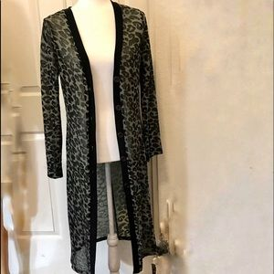 Forever 21 Green Gray Leopard Long Cardigan Duster